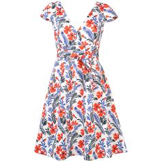 Carolina Herrera Floral Cap Sleeve Dress (6.960 BRL) ❤ liked on Polyvore featuring dresses, wrap dress, floral wrap dress, long circle skirt, skater skirt and long white dress