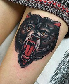Bear head tattoo bybJoeellistattoo