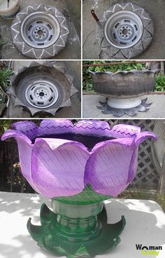 Images for flower pots rubber Garden Crafts, Garden Projects, Garden Art, Outdoor Projects, Painted Tires, Tire Garden, Recycled Garden, Recycled Tires, Tire Art