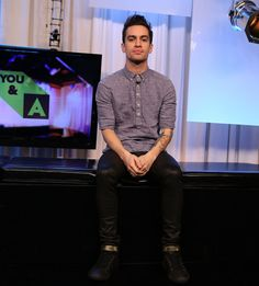 brendon urie and dog | Brendon Urie Brendon Urie of Panic! at the Disco visits Music Choice's ...