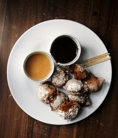 // Coconut Beignets with Chocolate Ganache & Dulce de Leche