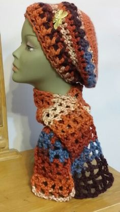Crocheted hat and scarf. Hat pattern created by me.