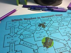 Students practice comparing numbers written in scientific notation with these fun mazes. Check out all 10 engaging activities and resources for practicing with scientific notation. Math Teacher, Math Classroom, Classroom Ideas, Middle School, High School, Scientific Notation, Comparing Numbers, Secondary Math, 8th Grade Math