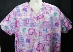 White Swan Nurses Medical Womens Scrub Top XL Purple Hearts Leaves Musical Notes #WhiteSwan
