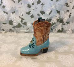 Vintage Cowboy Boot Planter Hand Painted Cowboy by Nogginsandnapes