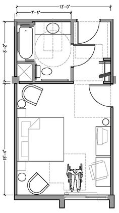 PLAN 1a:ACCESSIBLE 13 foot wide hotel room based on 2004 ADAAG.