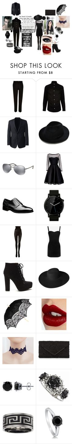 """we were born to die in a dark paradise"" by monsterhex ❤ liked on Polyvore featuring River Island, Lands' End, Prada, Marc by Marc Jacobs, Motorola, SPANX, Alexander McQueen, Dorfman Pacific, Charlotte Tilbury and Accessorize"