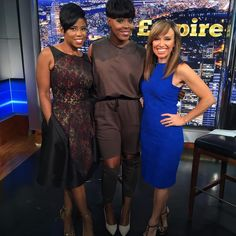 Hosts #JacqueReid and #SaraGore with the one and only 'Porsha' @tarhondajay from #Empire!