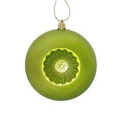 "6ct Matte Green Kiwi Retro Reflector Shatterproof Christmas Ball Ornaments 4"""