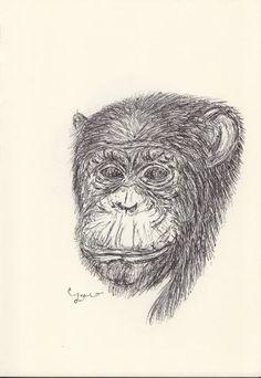 BALLPEN MONKEY 5 Ballpen, Ballpoint Pen, Monkeys, Illustrator, Saatchi Art, Drawings, Rompers, Monkey, Illustrators
