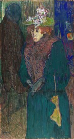 """""""Jane Avril in the Entrance to the Moulin Rouge, putting on her Glove"""" by Henri de Toulouse-Lautrec"""" (c.1892).  Although the couple were perhaps never lovers, Toulouse-Lautrec shows through his work a definite fascination with Avril, painting her during quiet personal moments as well as capturing her performances and public persona."""