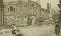 Detail from an 1814 etching of Bethlem Royal Hospital in London, commonly known as Bedlam