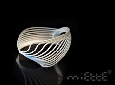 Moire Cuff by Miette very flexible comfortable and solid  3d printed nylon resin bracelet  7.1 w x 7.0 d x 5.3 h cm