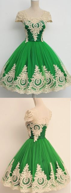 Custom Made Cap Sleeve Dresses Short Green Prom Homecoming Dresses With Lace Zipper Mini Cute Homecoming Dress by DestinyDress, $136.86 USD