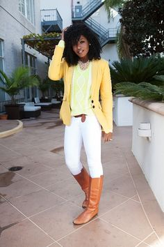Style Pantry | Mustard Blazer + Neon Sweater + White Skinnies