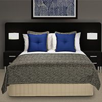 "Bed Shawl (Bed Throw), Lima ""Black Pepper"" by HotelHome with Vantage Mykonos Cushions."