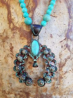 COWGIRL GYPSY PATINA SQUASH BLOSSOM Turquoise stone beads Western NECKLACE set #Unbranded