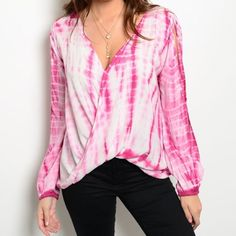 Stunning open back white and fuchsia blouse Stunning transition piece! Beautiful drape front and back cut out! Tops Blouses