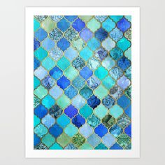 Cobalt Blue, Aqua Gold Decorative Moroccan Tile Pattern Art Print ($13) ❤ liked on Polyvore featuring home, home decor, wall art, gold wall art, moroccan tile wall art, gold home accessories, cobalt blue home accessories and aqua home accessories
