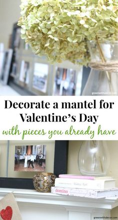 Set up a Valentine's Day mantle with pieces you already have. Easy Valentine's Day decorating ideas! Love how this blogger uses thrift store pieces and other everyday decor pieces to set up a pretty pink and neutral Valentine's Day mantle!.