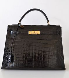 Hermes Kelly 32 Black Crocodile Porosus
