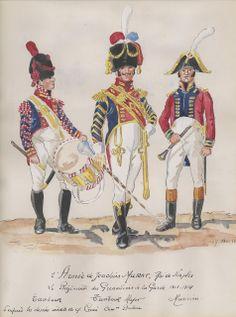 Tamburo, tamburo maggiore e musicante del 2 rgt. granatieri della 2 armata di Murat