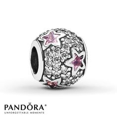Pandora Charm Pink & Clear CZ Sterling Silver