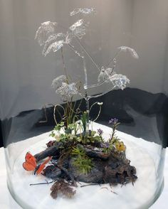 """""""...a tangled diorama covered by a large bell jar... Inside, a lump of earth seemed to sustain a few examples of scraggly plant life, as well as a scattering of dead leaves and a couple of brightly coloured butterflies. Above it, a larger plant might have given the scene some shade were it not made entirely of clear glass. This strange form gives the lie to the rest of the construction: every element in the piece, from the pine needles to the ladybird that can be spied in the undergrowth…"""