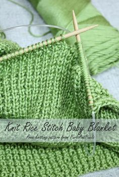 Rice Stitch Baby Blanket pattern by Liz Chandler - Free Knitting Patterns - Stricken Baby Knitting Patterns, Free Baby Blanket Patterns, Loom Knitting, Knitting Stitches, Baby Patterns, Free Knitting, Crochet Patterns, Knitting Ideas, Simple Knitting Projects