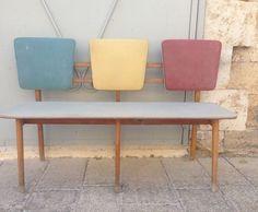 נמכר - ספסל וינטג׳ | ספסל וינטג׳ לפינת אוכל | ספסל וינטג׳ לבית | ספסל וינטג׳ מעוצב | ספסל עץ ומושבי ויניל | ספסל מעץ | כך היינו וינטג' ועוד | מרמלדה מרקט Decor, Furniture, Dining, Vintage Bench, Dining Bench, Vintage Shops, Home Decor, Bench, Vintage
