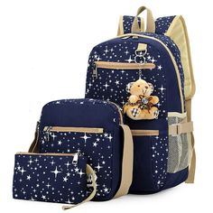 40.31$  Watch now - http://vigzk.justgood.pw/vig/item.php?t=jmx3pq5256 - 3pcs/set Ethnic Women Canvas Backpack for Teenagers Girls School Bags Rucksack K 40.31$