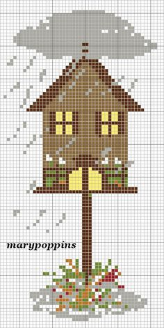 Here is a cute bird house cross stitch pattern