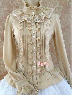 Sweet Ruffles Silk and Linen Lolita Shirt 5 Colors Quirky Fashion, Lolita Fashion, Boho Fashion, Fashion Outfits, Blouse Styles, Blouse Designs, Victorian Fashion, Vintage Fashion, Modele Hijab