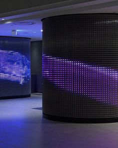 Multipurpose Hall - Al Sadd Sports Club. LED Mesh IMAGIC WEAVE® combines HAVER Architectural Wire Mesh with the latest LED technology.