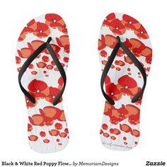 Black & White Red Poppy Flower Flip Flop Sandals