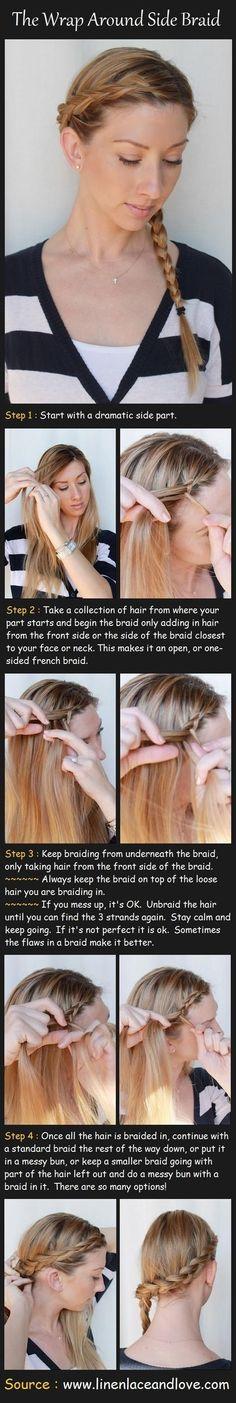 Cute Wrap Around Side Braided Hairstyle Tutorials