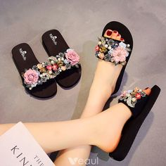 Modern / Fashion Black Summer Casual Slipper & Flip flops 2018 Appliques Crystal Pearl 5 cm Platform Wedges Open / Peep Toe Womens Shoes Source by byaminamed women shoes Fashion Slippers, Fashion Shoes, Cute Shoes, Me Too Shoes, Modern Fashion, Fashion Black, Shoe Makeover, Indian Shoes, Trendy Sandals