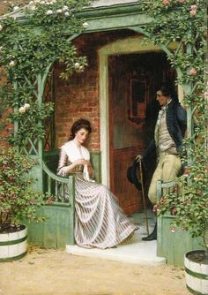 'The proposal', Drawing by Edmund Blair Leighton (1852-1922, United Kingdom)