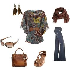 Brown and Blue, created by kim-allen-atkinson on Polyvore