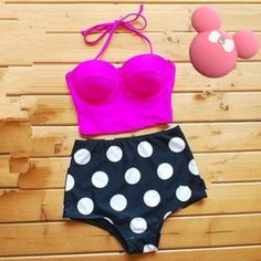 Red Polka Dot Halter Cut Out 2-in-1 Summer Sexy Swimwear - Swimwear - Tops