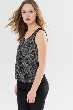 Suzy Shier Chiffon Tank Top with Crossed Front