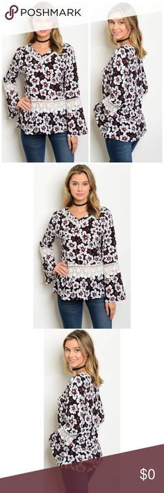 🎉💕🆕SALE Bell Crochet Trim Blouse Be.You.tiful Long Bell Sleeve Crochet Trim Floral Blouse. This blouse is adorable, I love it.  Long bell sleeve Crochet trim detail Floral print  Dry Clean Only 100% Polyester Be.You.tiful Tops Blouses