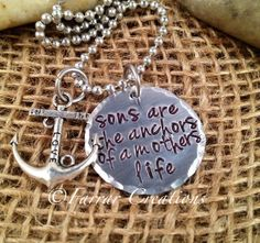 Mother/Son necklace - Sons are the anchors of a mothers life - Hand stamped - Mothers Day, gift for grand mother. $29.50, via Etsy.