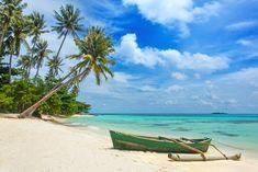 Boat on the beautiful tropical beach on Karimunjawa island, Indonesia