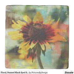 Floral, Painted Black Eyed Susan Stone Coaster