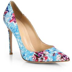 Mary Katrantzou Satin Floral-Print Pumps ($247) ❤ liked on Polyvore featuring shoes, pumps, floral pumps, floral shoes, pointed toe pumps, pointy-toe pumps and flower print shoes