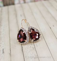 Burgundy Bridal Earring Rose Gold Earring by LilykayCouture