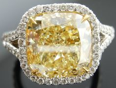 Cushion cut yellow diamond ring image by diamondsbylauren on Photobucket