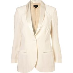Ivory Satin Shawl Collar Tux Jacket ($135) found on Polyvore
