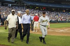 President Barack Obama smiles as he makes a visit to the Congressional baseball game at Nationals Park, on Thursday, June 11, 2015, in Washington DC